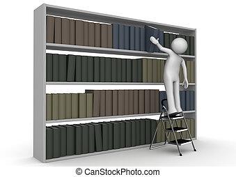 Der Mann auf Schrittlader nimmt Buch aus dem Bücherregal.