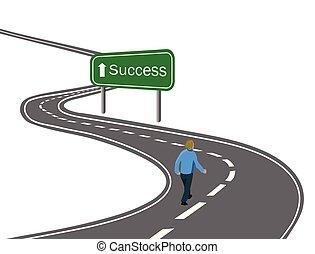 Der Mensch wandert auf der gebogenen Asphaltstraße zum grünen Zeichen Erfolg mit weißem Pfeil Konzept des Wegs zum Erfolg Erreichen der Ziele Siegesreise.