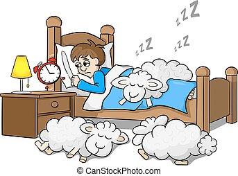 Der schlaflose Mann wacht morgens am Wecker auf.