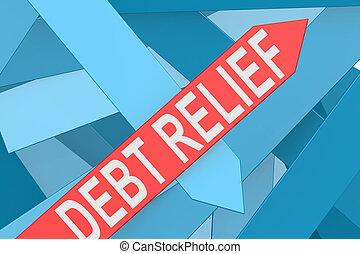 Der Schuldenerlasspfeil zeigt nach oben.