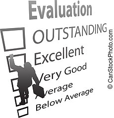 Der Unternehmer klettert auf die Bewertungsverbesserungsform
