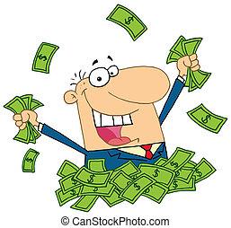 Der Verkäufer spielt auf einem Haufen Geld