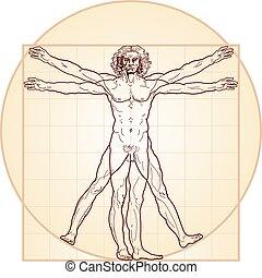 Der vitruvianische Mann (Homo vitruviano)