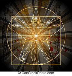 Der vitruvianische Mann in Pentagram