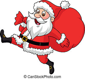 Der Weihnachtsmann läuft mit der Tasche.