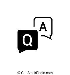 design, informationen, frage, frage, symbol, faq, hilfe, vektor, icon., frequently, vortrag halten , wohnung