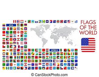 design, offiziell, alles, welt, vektor, quadrat, flaggen, national