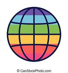 design, wohnung, global, lgtbi, vektor, ikone, stil, kugelförmig