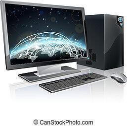 Desktop Computer-Weltkugel