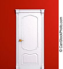 detail., vektor, weißes, hölzernes haus, tür, inneneinrichtung, illustration.