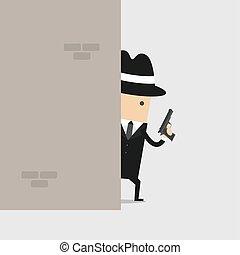 Detective mit einer Waffe hinter der Wand.