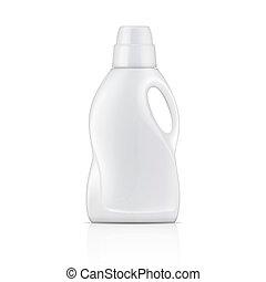 detergent., weißes, wäscherei, flasche, flüssiglkeit