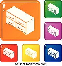Die Brust der Schubladen Icons setzen Vektorfarbe.