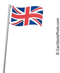 Die Flagge des Vereinigten Königreichs auf einem Flagstaff