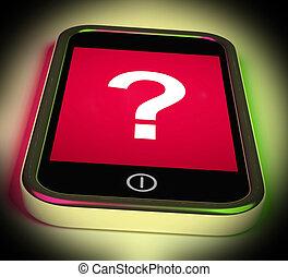 Die Fragezeichen auf mobilen Shows helfen verwirrt und Zweifel.