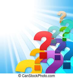 Die Fragezeichen weisen auf häufig gestellte Fragen und Fragen hin.