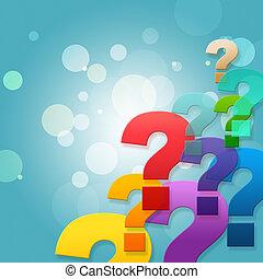 Die Fragezeichen zeigen häufig gestellte Fragen und stellen.
