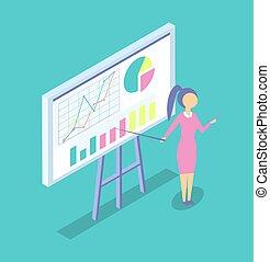 Die Frau an der Tafel anwesend Projekt Zeichentrick-Banner