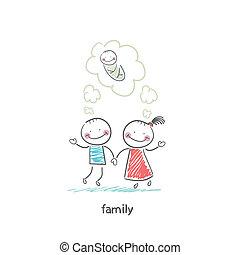Die glückliche Familie wartet auf die Geburt. Illustration.