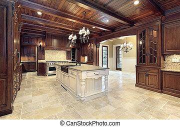 Die Küche mit Holzdeckeln