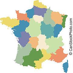 Die Karte Frankreichs in Regionen aufgeteilt