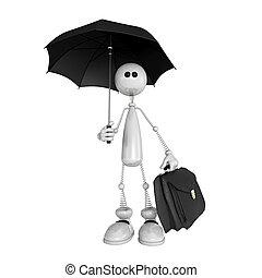 Die kleine Person mit einem Schirm und einem Portfolio