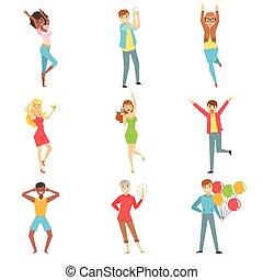 Die Leute haben Spaß auf der Party-Set der Illustrationen
