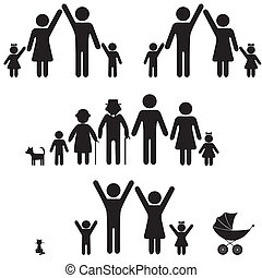 Die Leute schmieren Familien-Ikone.
