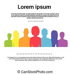 Die Menschen gruppieren bunte Silhouetten Icons Vektor.