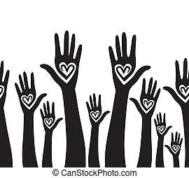 Die Menschen Hand wie ein geschlossenes Herz, nahtloser Hintergrund.