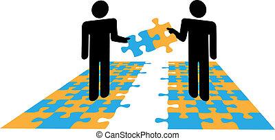 Die Menschen lösen Problemlösungskooperationen