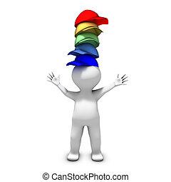 Die Person mit vielen Hüten hat eine Menge unterschiedlicher Verantwortungen