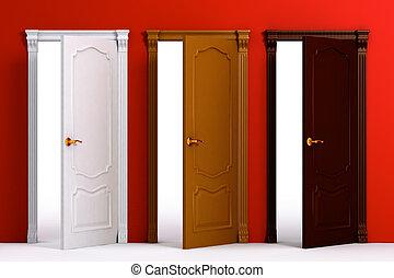Die Tür des Holzhauses im Inneren