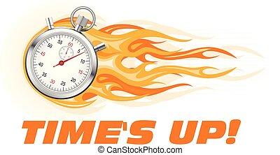 Die Zeiten sind vorbei - Brennendes Stoppuhr-Icon, heißes Angebotssymbol.