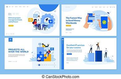 dienstleistungen, schablonen, geschäftsführung, arbeitsbühne, design, e-bankwesen, seite, crowdsource, ihm, sammlung, web