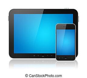 Digital Tablet PC mit mobilem Smartphone isoliert
