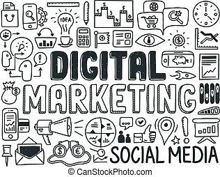 Digitale Marketing-Doodle-Elemente aufgestellt