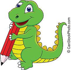 dinosaurierer, glücklich, karikatur, schreibende
