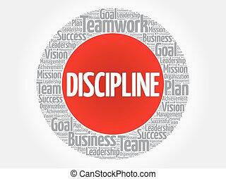 disziplin, kreis, wort, wolke