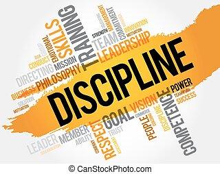 disziplin, wort, wolke