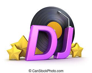 DJ-Wort mit Vinyl und Sternen
