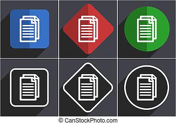 Document Set von flat design web icons in 6 Optionen.