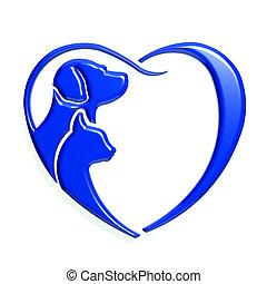 Dog cat blue heart love, 3D graphic.
