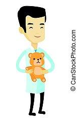doktor, kinderarzt, bear., besitz, teddy