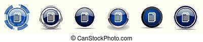 Dokument Silber metallic chrome Grenzvektoren Icons, Satz von Web-Tasten, runde blaue Zeichen in Eps 10.