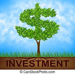 dollar, baum, zeigt, amerikanische , zweig, investition