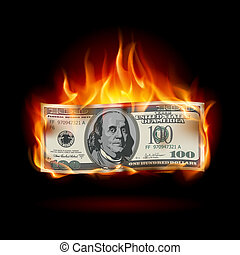 dollar, brennender