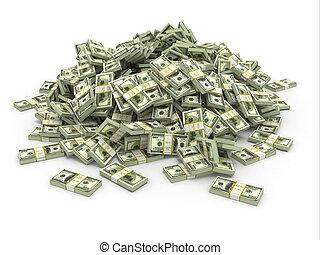 dollar., haufen , geld, verpackt