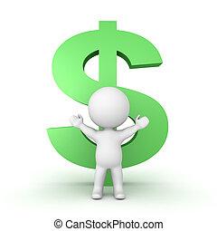 dollar- symbol, zeichen, groß, hinten, grün, 3d