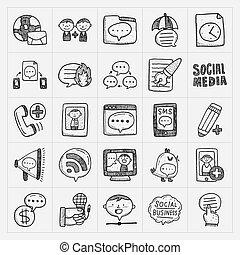 Doodle-Kommunikations-Icons eingestellt.